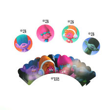 Trolls Cupcake Decorating Set of 12pcs Toppers /Picks And 12pcs Wrappers