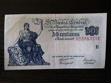 ARGENTINA 50 CENTAVOS PAPER MONEY~1947~VG