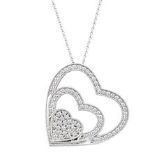 Triple Heart Natural Diamond Pendant sterling Silver Pendant with Chain
