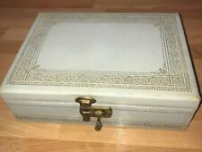 Vintage 50s ? Jewelry Music Box With Gold Leaf Accents Lock & Key Blue Lining