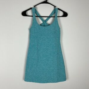 Beyond Yoga Blue Cross Back Ruched Tank Top Size Small Built In Shelf Bra S