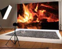 Vinyl Log Fire Photography Backgrounds 7x5ft Studio Photo Wall Backdrops Props