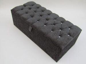 Chenille Diamante & Matching Buttons Ottoman Box, Storage Box, Blanket Box