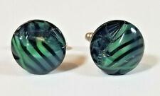 Sterling Silver Carved Art Glass CUFFLINKS