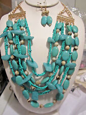 Multi Layers Turquoise Lucite Bead Glass Seed Bead Chunky Necklace Earring