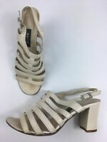 WOMENS BALLY CREAM LEATHER STRAPPY SLINGBACK HIGH HEEL SANDALS SHOES UK 4.5 37.5