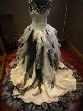 Gothic Black and White Wedding Dress Organza Bridal Gowns Ball Gown Custom 4-26+