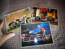 Lot de 3 Cartes Postales Photo d'Ancienne Moto Harley Davidson