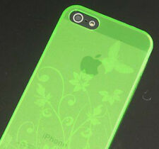 iPhone SE iPhone 5 5S Gel Case - Butterfly and Flowers - Green