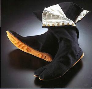 Rikio Ninja Tabi Fighter Shoes / Split Toe Canvas Boots 12 Clips Black