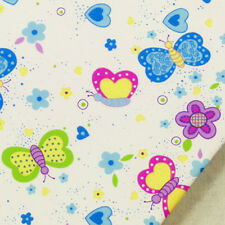 100 Cotton Fabric FQ KAWAII Butterfly & Flower on White Dress Quilt Crafts K38