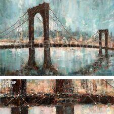 "36""x24"" MANHATTAN MEMORIES by RUANE MANNING BROWN BRIDGE BLUE SKY NEWYORK CANVAS"