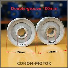 Double-groove Pulley 100mm shaft size 28mm