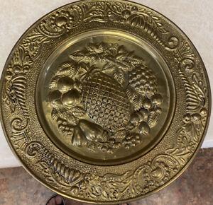"""Vintage Brass Embossed Wall Plate Pineapple Fruit Made In England 12"""" Peerage"""