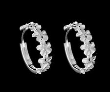 STERLING SILVER 925 6 HAWAIIAN PLUMERIA FLOWER HOOP EARRINGS CLEAR CZ