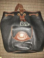 Vintage Dooney & Bourke Black with Brown Trim Leather Sling Bag Handbag