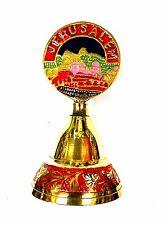 """Brass copper Jerusalem view handle design 4.5"""" vintage hand bell from Jerusalem"""