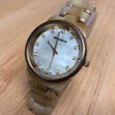 Rousseau Men Lady Diamond-Accent Faux Marble Analog Quartz Watch Hour~New Batter