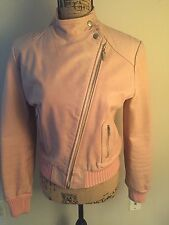 Doma Pink Leather Bomber Moto Jacket Size L Celebrity Style