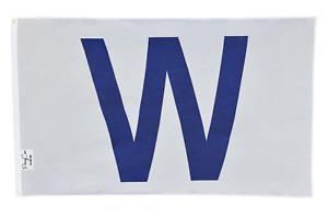"""USA Seller Ship!! Chicago Cubs Win """"W"""" flag White and Blue Fly The W Wrigley 3x5"""