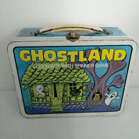 1977 OHIO ART GHOSTLAND VINTAGE METAL LUNCH BOX WITH SPINNER GAME!!!