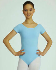 Mondor 496 Coppen Blue Child Size Large (10-14) Short Sleeve Leotard