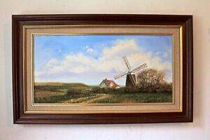 ENGLISH LANDSCAPE FARMHOUSE WINDMILL original framed oil painting BILL PERRING
