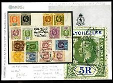 DBW85e 1926 SEYCHELLES Multiple Franking *5R HIGH VALUE* Victoria CDS Cover RARE
