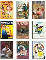 Vintage Advertising Posters Glossy Finish Card Making Topper Craft Embellishment