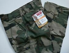 Mens Wrangler Relaxed Fit Cargo Pant with Stretch Green Brown Camo