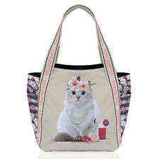 Teo Jasmine Cat Large Tote Handbag Shopper Holiday Beach Cat Lovers Gift