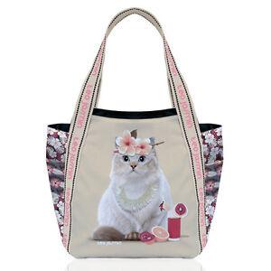 Teo Jasmine Cat Large Tote Handbag Shopper Holiday Beach Cat Lovers Gift