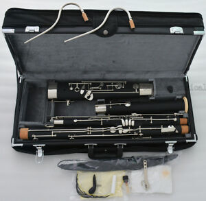 Professional Short Hand Bassoon Silver nickel Keys 2 Bocals Leather Case