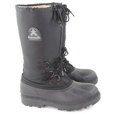 Kamik Canada Boots Mens Winter Snow Boots Size 9 Black With Inner Lining Lace Up