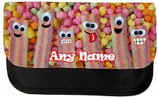 PERSONALISED FUN FIZZY BELTS SWEETS PRINT SCHOOL PENCIL CASE MAKE UP BAG GIFT