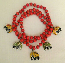 Bead Necklace ~ India Vintage Carved Wood Elephant