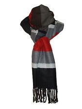 ECHARPE scarf (grande) - laine et synthétique- rayée Gris Rouge Noir