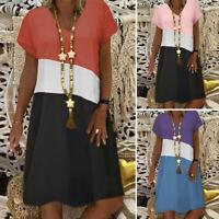 ZANZEA UK Women Summer Short Sleeve V Neck Sundress Patchwork A Line Beach Dress