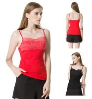 Womens Adjustable Spaghetti Strap Basic Tank Top Ladies Lace Trim Comi Tee Shirt