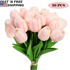 10 PACK Pink Artificial Tulip Fake Flowers Real Touch For Wedding Home Decor US