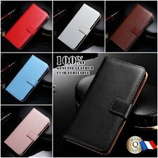 Etui Cuir Véritable housse coque Genuine Leather Wallet case Samsung Galaxy S7