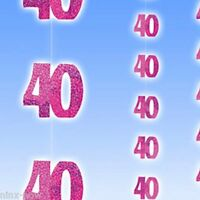 Party Decoration 40th Birthday Glitz Pink Hanging string 1.5m long ea pack of 6