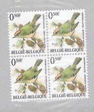 BLOC DE 4x TIMBRES BELGIQUE - ROITELET HUPPE - LIGUE ROYALE BELGE-OISEAUX-BUZIN