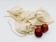 100 Pcs of 3x5 Inches Reusable Organic Cotton Muslin Bags. Single Drawstring