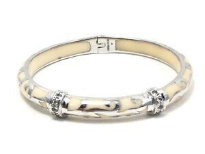 Angelique de Paris Sterling Silver White Ivory Enamel Spring Bangle Bracelet