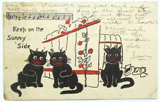 ANTIQUE 1907 POSTCARD w/ BLACK CATS - KEEP ON THE SUNNY SIDE Halloween theme