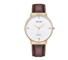 Mens Watches Wrist Watch Analog Quartz Fashion Gift Leather Strap in Black Brown