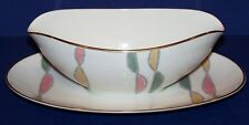 HTF NORITAKE RC JAPAN 226 MID CENTURY MODERN GRAVY BOAT WITH ATTACHED UNDERPLATE