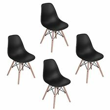 Wohnzimmerstuhl Esszimmerstuhl Bürostuhl 4 x Designer Kunststoff Schwarz Chairs
