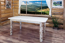 Rustic Log Dining Room Table 6 ft Amish Made Kitchen Tables Montana Lodge Cabin